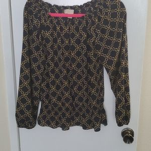 Black and gold peasant style blouse